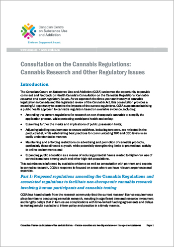 Consultation on the Cannabis Regulations: Cannabis Research and Other Regulatory Issues [Policy Brief]