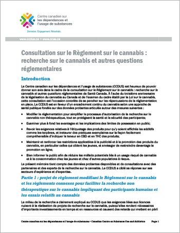 Consultation sur le Règlement sur le cannabis : recherche sur le cannabis et autres questions réglementaires [Document dorientation]