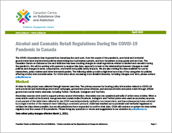 Alcohol and Cannabis Retail Regulations During the COVID-19 Pandemic in Canada [March 1, 2021]