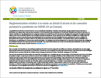 Réglementation relative à la vente au détail d'alcool et de cannabis pendant la pandémie de COVID-19 au Canada [1er mars 2021]