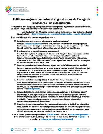 Politiques organisationnelles et stigmatisation de l'usage de substances : un aide-mémoire