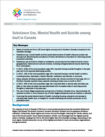 Substance Use, Mental Health and Suicide among Inuit in Canada (Report at a Glance)