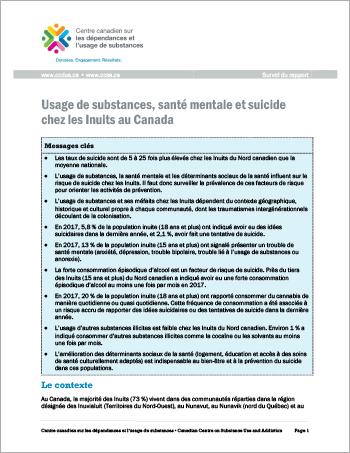 Usage de substances, santé mentale et suicide chez les Inuits au Canada (Survol du rapport)