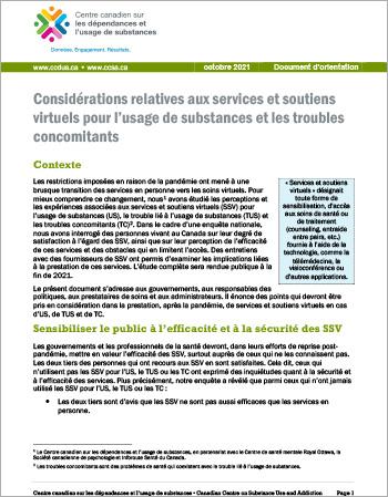 Considérations relatives aux services et soutiens virtuels pour l'usage de substances et les troubles concomitants [Document d'orientation]